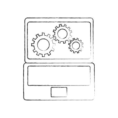 歯車とラップトップ ハードウェア技術アイコン web アイコン ベクトル図