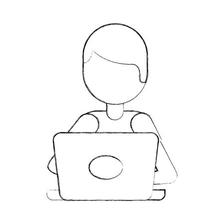 漫画のコード ベクトル図を書くプログラマ ノート パソコン作業  イラスト・ベクター素材
