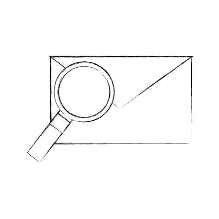 メールと拡大鏡のエンベロープ メッセージ検索ベクトル図  イラスト・ベクター素材