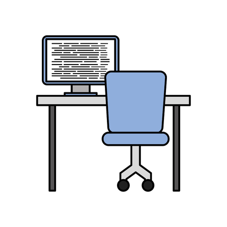 A computer with screen coding with desk network vector illustration.