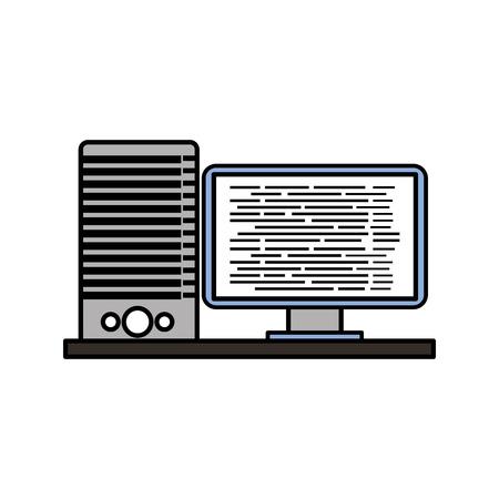 コンピュータサーバーソフトウェアコードデータプログラミングベクトルイラスト。