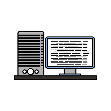 A computer server software code data programming vector illustration. Ilustrace