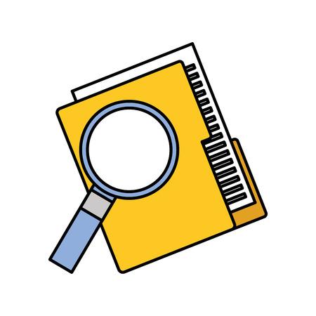 A folder file and magnifier technology data storage vector illustration. Çizim