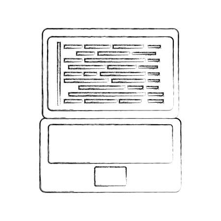 A laptop coding concept web developer programming screen code vector illustration.