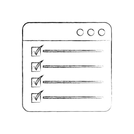 web page check mark report list flat design graphic element vector illustration