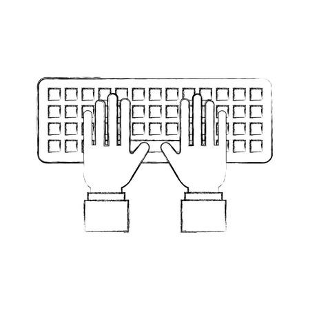 hands programmer typing work keyboard technology vector illustration