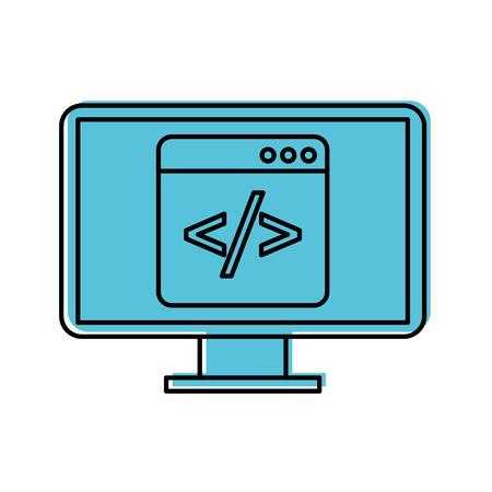 programmeervenster met script code computer vectorillustratie Stock Illustratie