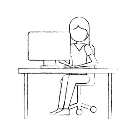 A girl sitting working laptop program technology vector illustration. Illustration
