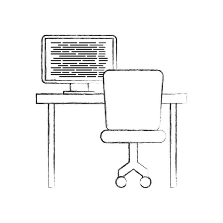 computer with screen coding desk chair network vector illustration Illustration