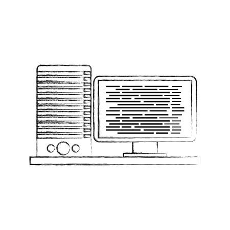 コンピューター サーバー ソフトウェア コード データのベクトル図をプログラミング  イラスト・ベクター素材