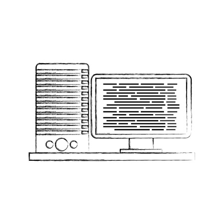 computer server software code data programming vector illustration Illustration