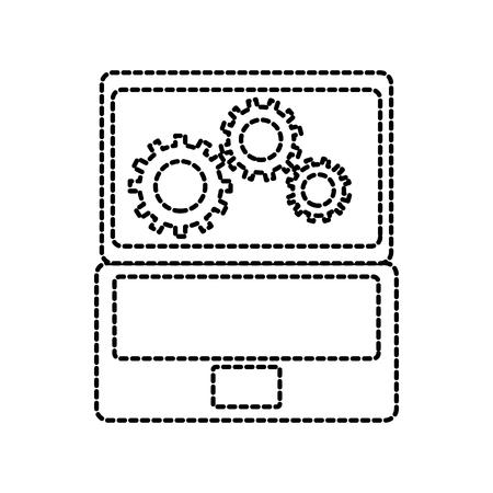 노트북 및 기어 하드웨어 기술 아이콘 웹 아이콘 벡터 일러스트 레이 션