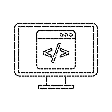 스크립트 코드 html 컴퓨터 벡터 일러스트와 함께 프로그래밍 창 일러스트