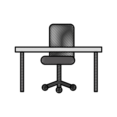 office desk and chair furniture equipment image vector illustration
