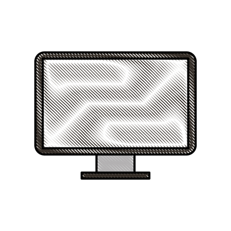 A screen monitor of computer device technology vector illustration. Çizim