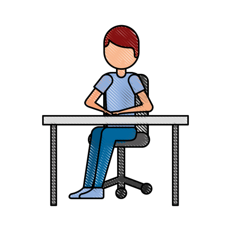 cartoon man sitting on chair with table vector illustration