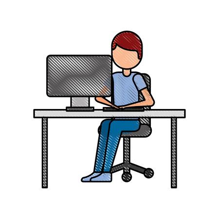 Persona che lavora sul computer programmazione o illustrazione vettoriale concetto di codifica Archivio Fotografico - 87759270