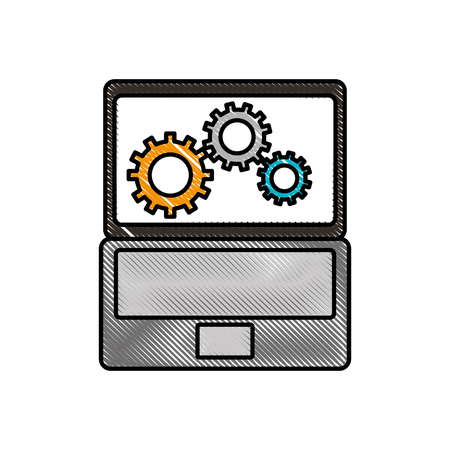 A laptop and gears hardware technical icon web icon vector illustration. Illustration
