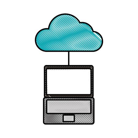 A cloud computing laptop programming code storage vector illustration.