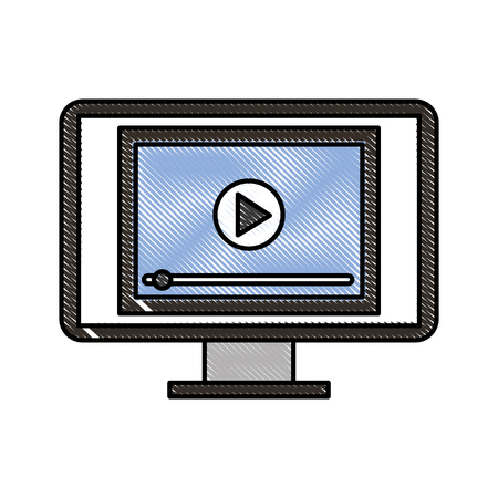 player button on screen computer digital technology vector illustration