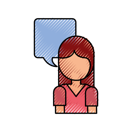 A girl with speech bubble dialog conversation talk vector illustration. 向量圖像