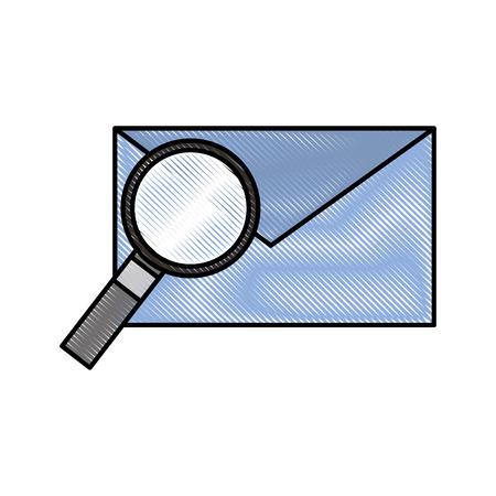 e-mail en vergrootglas envelopbericht vinden vectorillustratie
