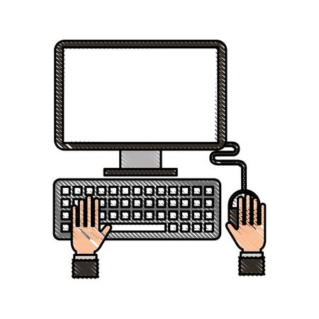 hands programmer working keyboard laptop vector illustration Illustration