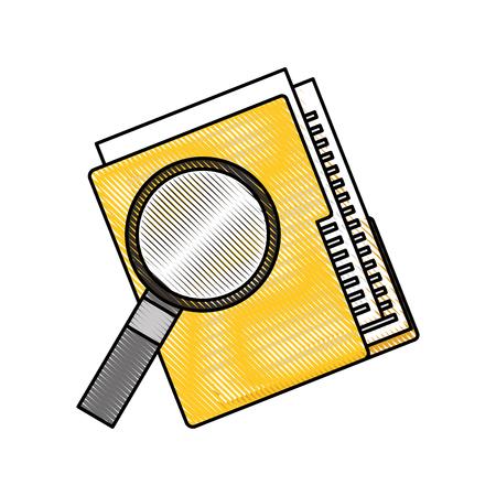 folder file and magnifier technology data storage vector illustration
