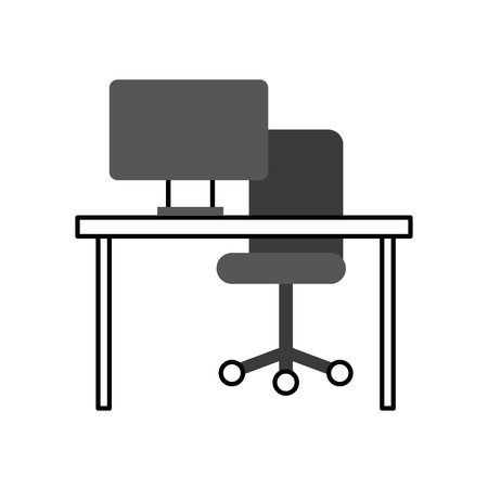 computer with screen desk chair network vector illustration