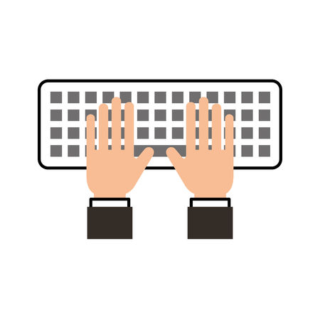 hands programmer typing work keyboard technology vector illustration