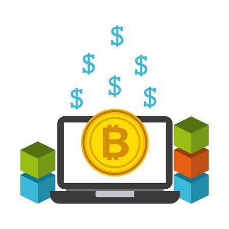 Ordinateur portable avec bitcoin pièce d & # 39 ; argent bitcoin vector illustration Banque d'images - 87761074