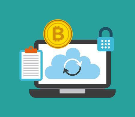 laptop cloud storage information bitcoin check protection lock vector illustration