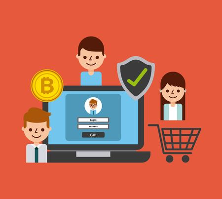 shopping online laptop secure bitcoin people vector illustration Stock Vector - 87761079
