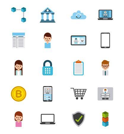 Satz der digitalen Zugangs-Vektorillustration des Ikonenblockchain-Geschäfts Standard-Bild - 87761081