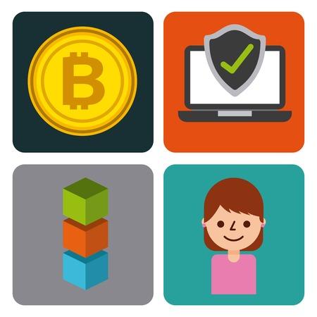 set of icons blockchain business digital access vector illustration