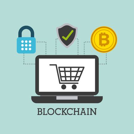 blockchain 노트북 컴퓨터 장바구니 쇼핑 안전 비트 코인 벡터 일러스트 레이션