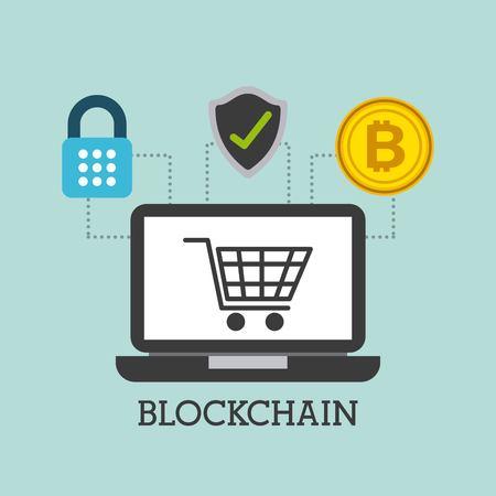 blockchain laptop computer cart shopping safety bitcoin vector illustration