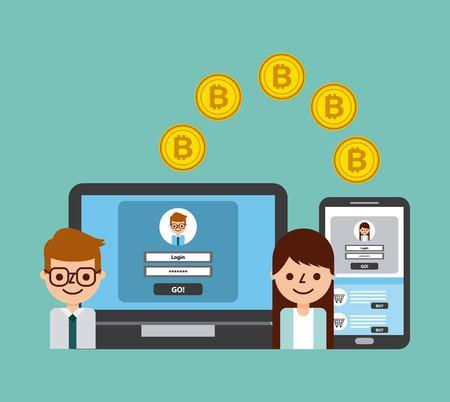 people transfer bitcoin digital online banking secure vector illustration