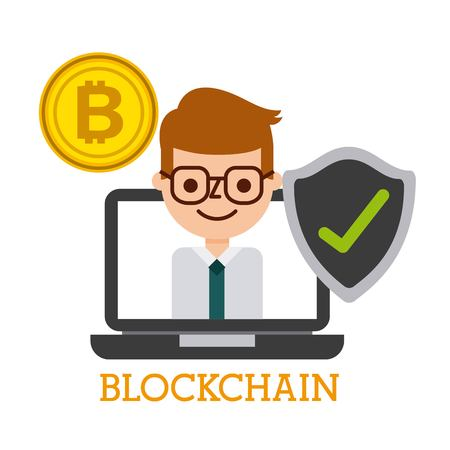 blockchain laptop computer business man bitcoin shield protection vector illustration Ilustrace