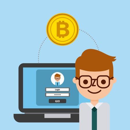 ビジネス男ラップトップ bitcoin 安全な取引銀行のベクトル図  イラスト・ベクター素材