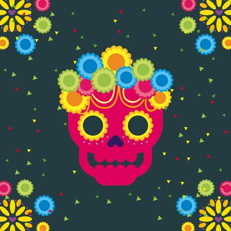day of the dead skull with floral ornament dark background vector illustration Illustration