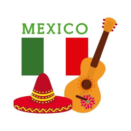 멕시코 축제 모자 기타 및 플래그 축하 벡터 일러스트 레이션