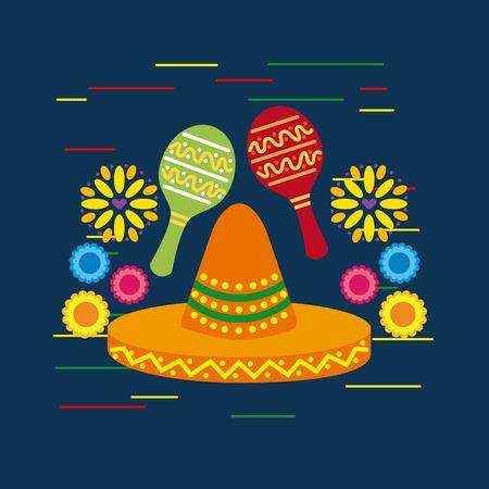 mexican sombrero hat and maracas shakers flowers decorative vector illustration