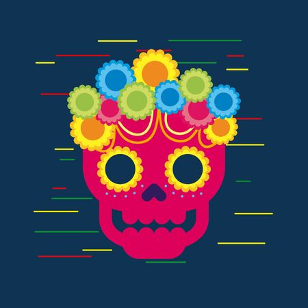 day of the dead skull with floral ornament blue background vector illustration Illustration