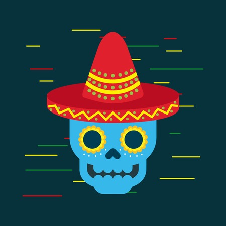 day of the dead blue skull with mexican hat ornament vector illustration Illustration