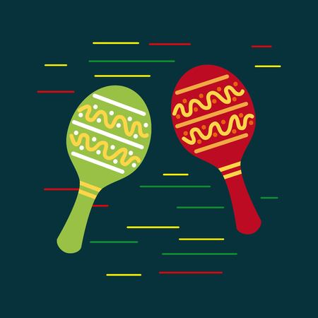 mexican red and green maracas music folklore traditional vector illustration