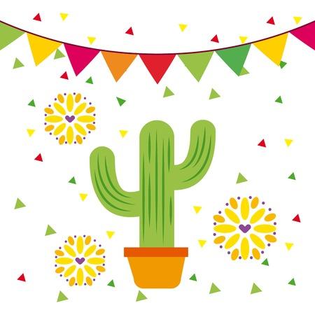 멕시코 화분 선인장 꽃과 화환 장식 벡터 일러스트 레이션