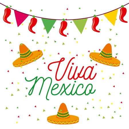 Viva mexico poster colorato cappelli e pennant decorazione celebrazione illustrazione vettoriale Archivio Fotografico - 87761292
