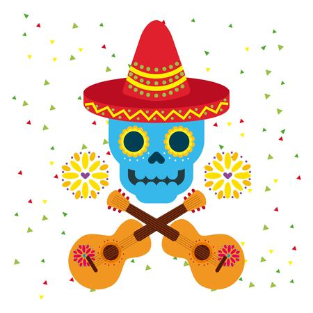 day of the dead skull with floral ornament vector illustration