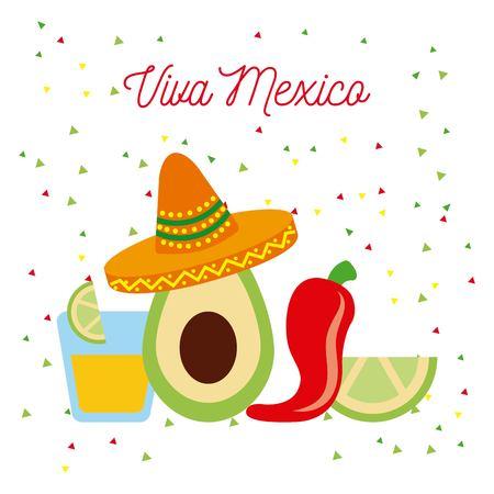 살아있는 멕시코 아보카도 모자 칠리 데낄라와 레몬 벡터 일러스트 레이션